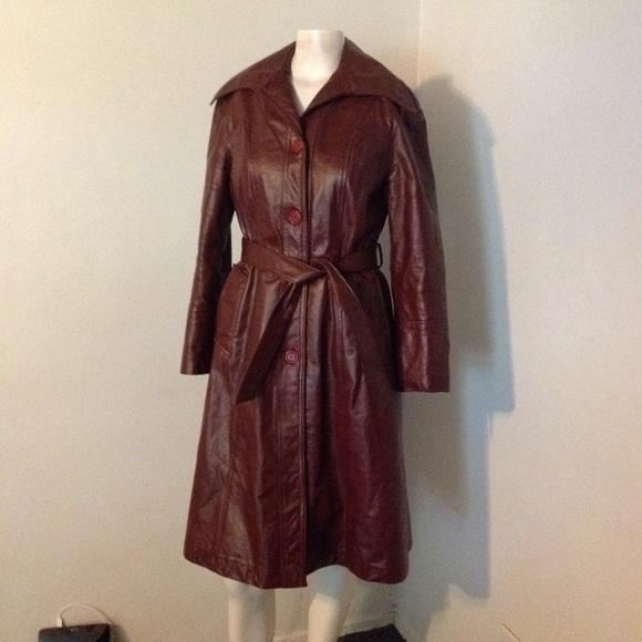 Vintage Jackets & Blazers - Vintage Large Lapel Princess Belted Leather Coat